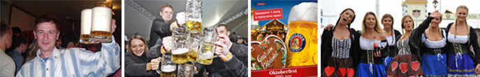 Foamy Bavarian Beer! | Steins in the air! | Moscow Oktoberfest poster | Russians get into the spirit of the Oktoberfest