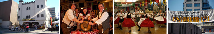 The main venue for the Kitchener-Waterloo Oktoberfest | Barrels of beer at the Oktoberfest | Dancing in traditional Lederhosen and Dirdnl costumes | Kitchener-Waterloo Oktoberfest banner