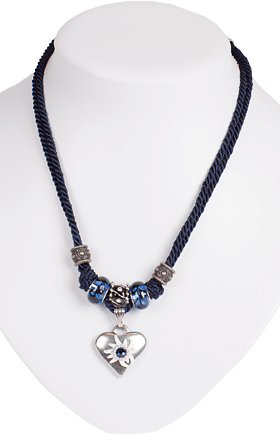 Necklace with double cord and heart, navy