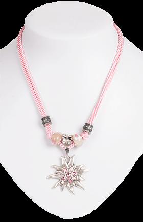 Kette mit 2facher Kordel und Edelweiss, rosa