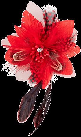 Anstecker Blüte mit Haarclip und Anstecknadel, rot