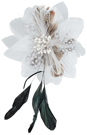 Flower Badges with hairclip 19193gr white