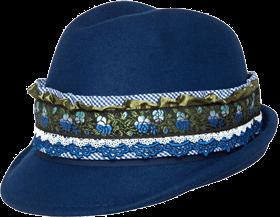 Trachtenhut blau mit Bordüre