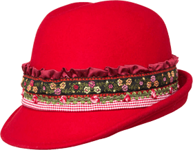 Trachtenhut rot mit Bordüre