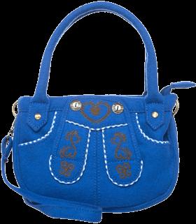 Bügeltasche blau Lederhosenform