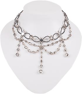 Glass pearls collier 12223 silver