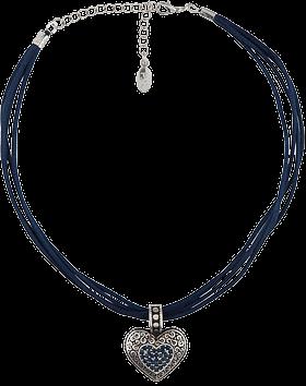 Halskette 4fach Kordel Herzanhänger