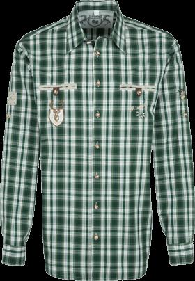 Trachtenhemd Karo Mix Krempelarm grün