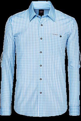 Camicia per Trachten Campos2, a quadretti, blu chiaro