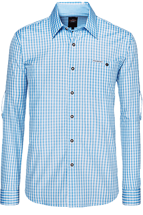 Trachtenhemd Wanderhemd karo Krempelarm hellblau