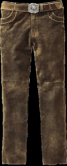 Trachtenlederhose lang incl. Gürtel bison antik