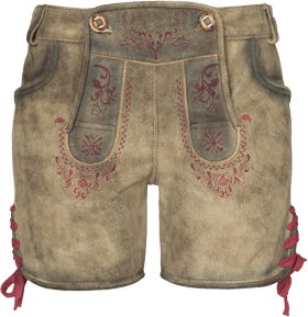 Traditional leather pants short Franzi cornred