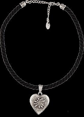Halskette Kordel Herz mit Edelweiss