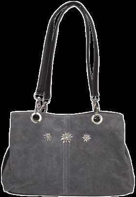Trachtentasche Leder mit Edelweiss, grau