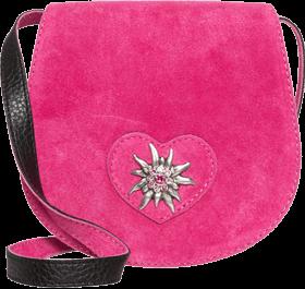 Trachten Ledertasche Herz Edelweiss, pink
