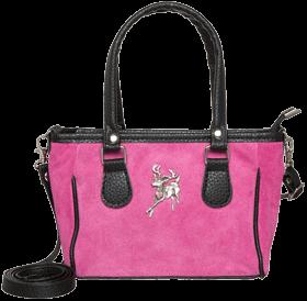 Kleine Trachtentasche Veloursleder, pink