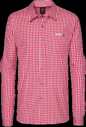 Trachtenhemd Wanderhemd karo Krempelarm rot