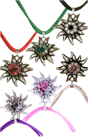 Halskette Satinband Edelweiss