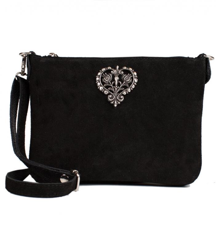 Wildleder Trachtentasche TA30540 mit Metallherz, schwarz