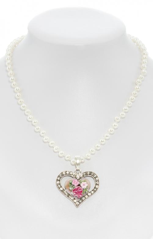Perlenkette mit bemaltem Herzanhänger rose