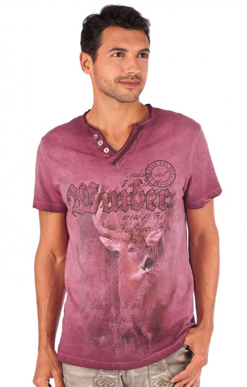 Trachtenshirt T-Shirt burgund