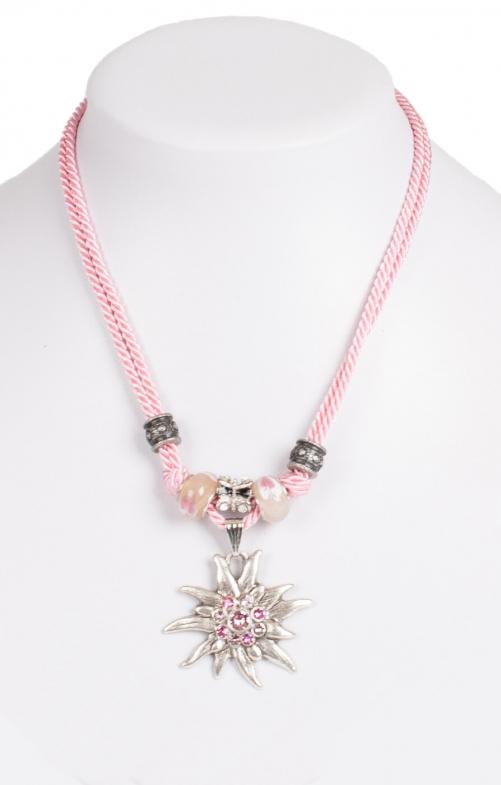 Kette 12702 mit 2facher Kordel und Edelweiss, rosa