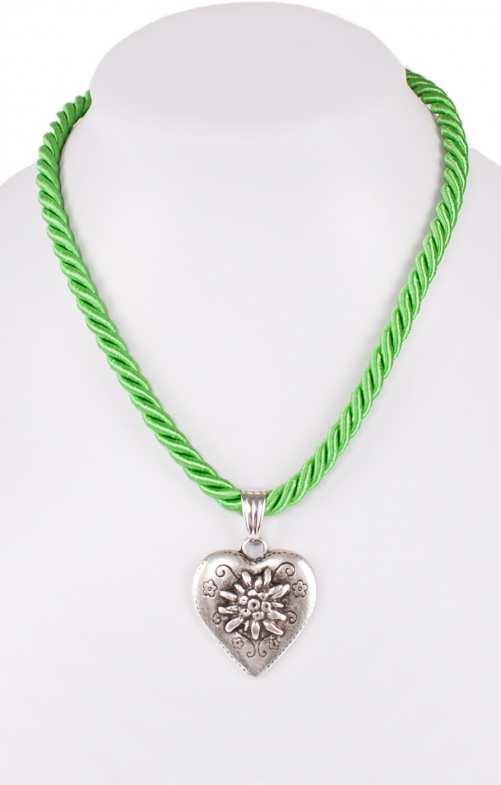 Halskette K100 Kordel Herz mit Edelweiss apfel