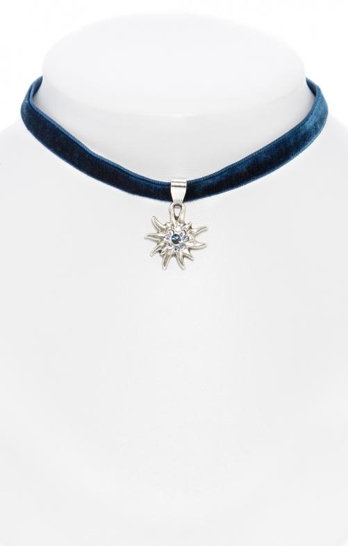 Halskette 9197 Samtband Edelweiss marine