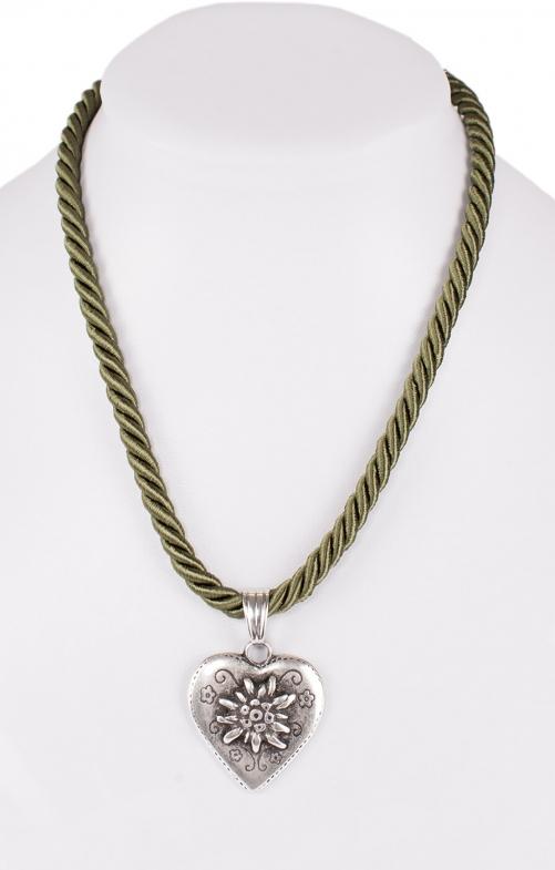 Halskette Kordel Herz mit Edelweiss oliv