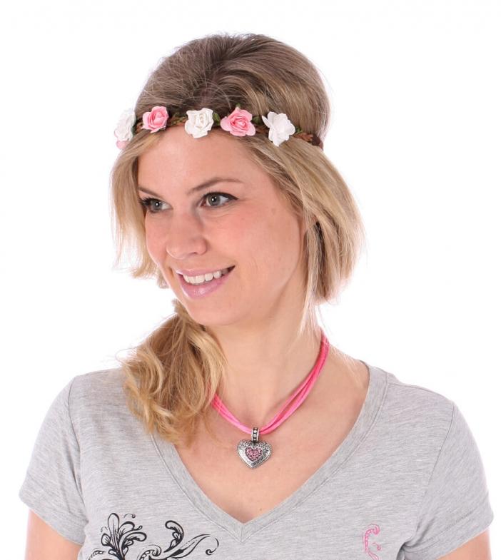 Haarband HB-241 Blüten rose weiss