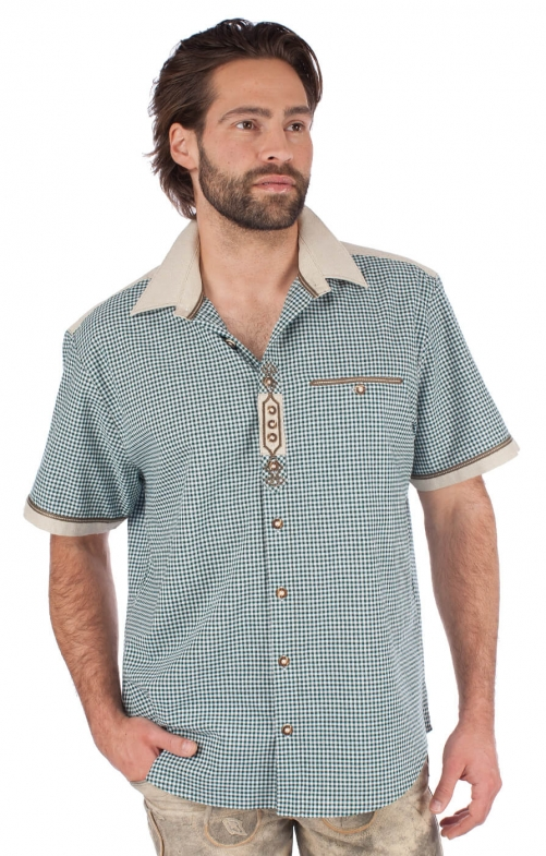 Trachtenhemd Halbarm grün