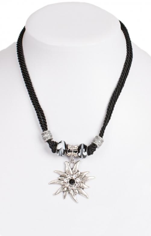 Kette 12702 mit 2facher Kordel und Edelweiss, schwarz