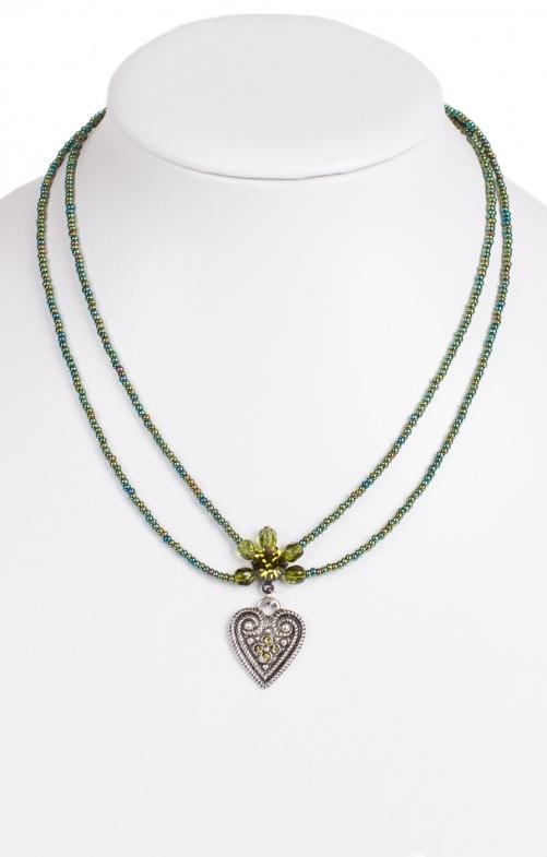 Halskette 2 reihig aus Perlen, oliv