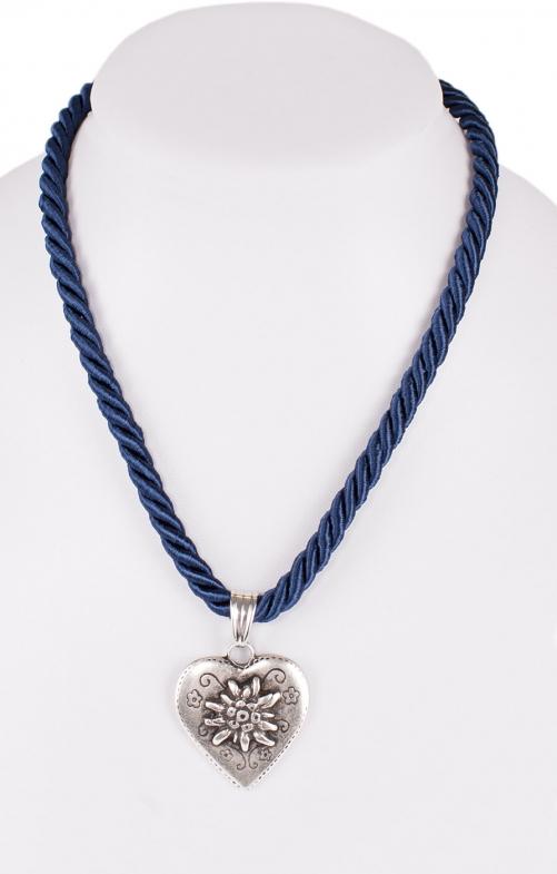 Halskette K100 Kordel Herz mit Edelweiss marine