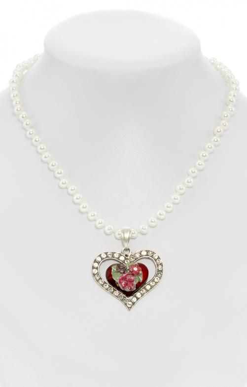 Perlenkette mit bemaltem Herzanhänger rot