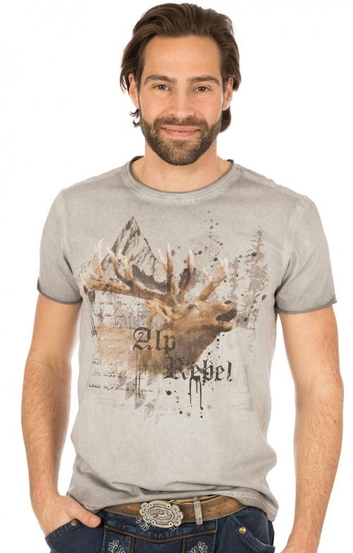 Trachten T-Shirt Alprebell asche