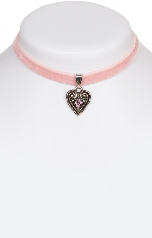 Samtkette 2044 mit Herz, rose