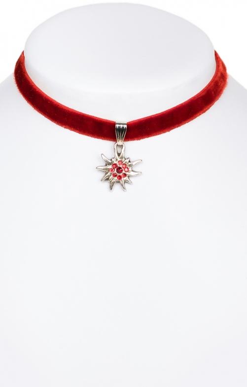 Halskette 9197 Samtband Edelweiss, rot