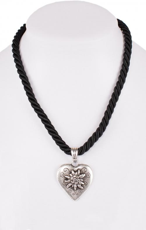 Halskette Kordel Herz mit Edelweiss schwarz