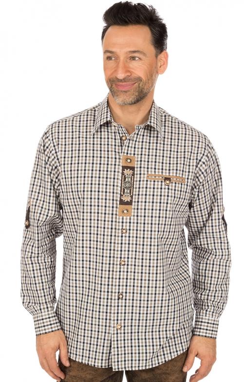 Trachtenhemd Krempelarm braun schwarz