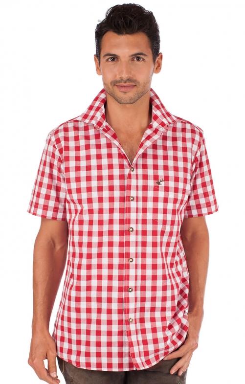 Trachtenhemd karo Halbarm rot
