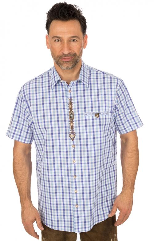 Trachtenhalbarmhemd hellblau