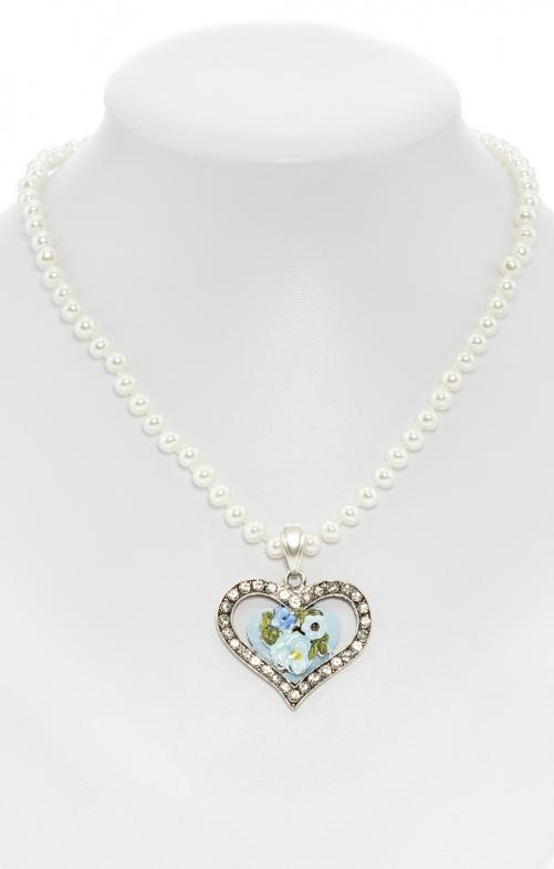 Perlenkette mit bemaltem Herzanhänger blau