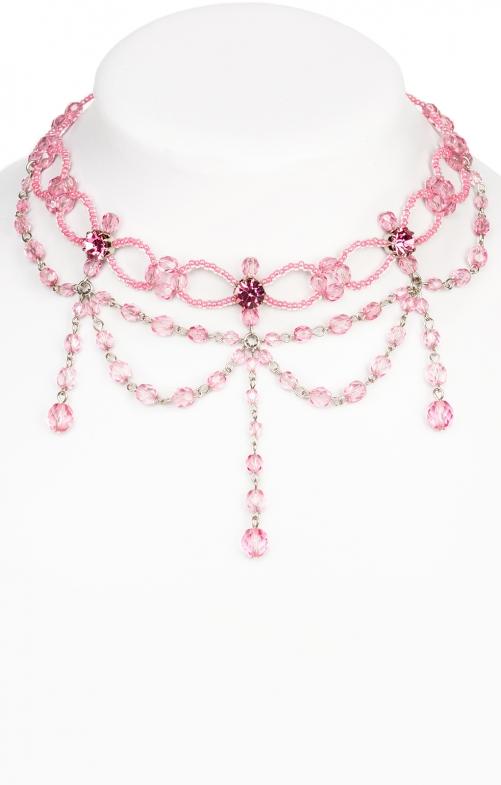 Glasperlencollier 12223 rosa