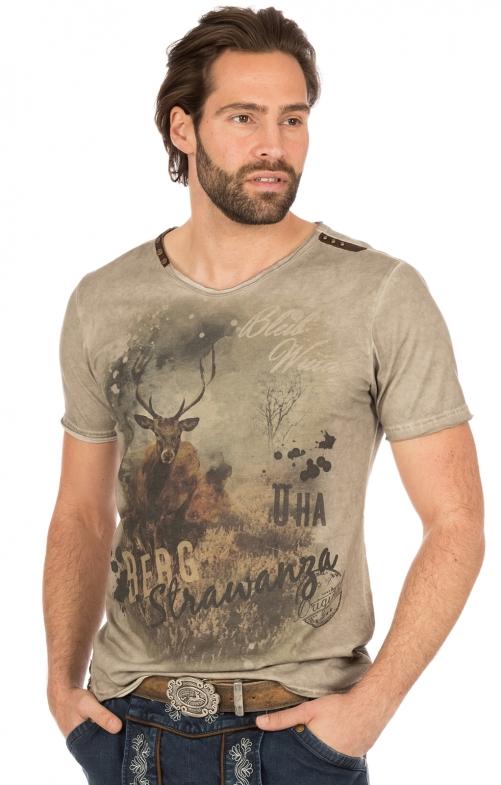 Trachten T-Shirt BERGSTRAWANZA braun