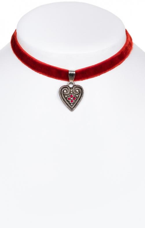 Samtkette 2044 mit Herz, rot