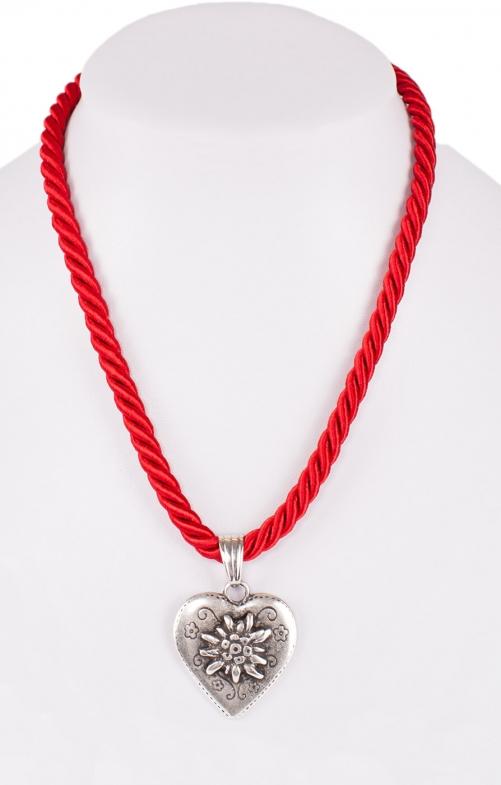 Halskette Kordel Herz mit Edelweiss rot