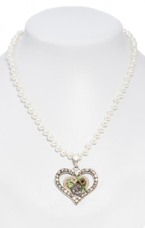 Perlenkette mit bemaltem Herzanhänger taupe